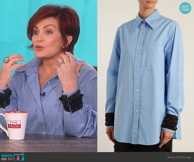 Embellished-cuff cotton shirt by No. 21 worn by Sharon Osbourne on The Talk