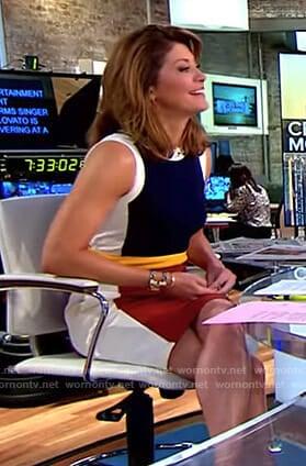 Norah's colorblock sleeveless dress on CBS This Morning