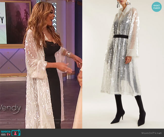Belted sequin-embellished trench coat by Norma Kamali worn by Wendy Williams  on The Wendy Williams Show
