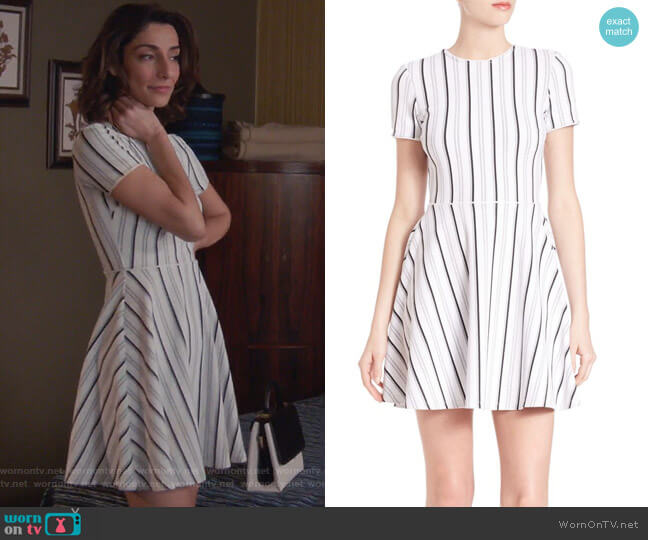Striped Fit-&-Flare Dress by Opening Ceremony worn by Necar Zadegan on GG2D