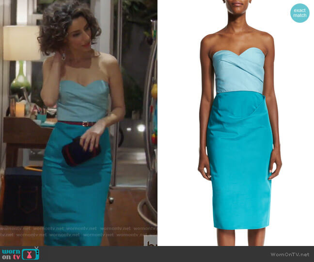 Colorblock Strapless Sweetheart-Neck Midi Dress by Oscar de la Renta worn by Delia (Necar Zadegan) on GG2D