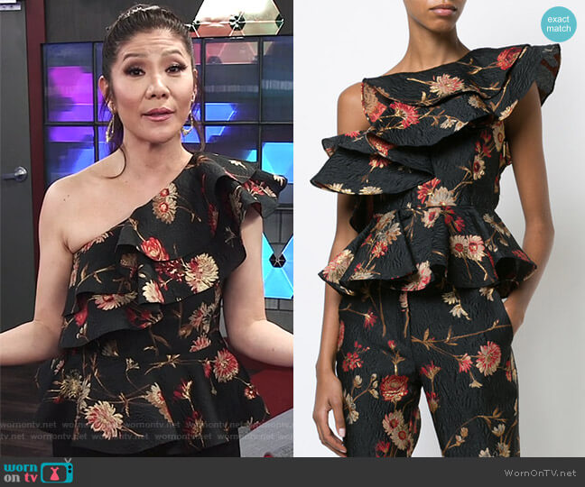 floral one shoulder ruffled top by Prabal Gurung worn by Julie Chen  on Big Brother