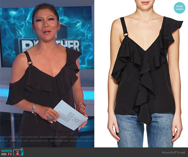 Ruffle-trimmed silk crepe de Chine top by Proenza Schouler worn by Julie Chen on Big Brother