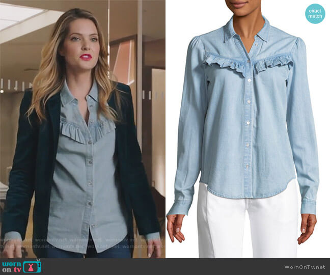 Layda Snap-Front Chambray Shirt w/ Ruffled Trim by Paige worn by Sutton (Meghann Fahy) on The Bold Type