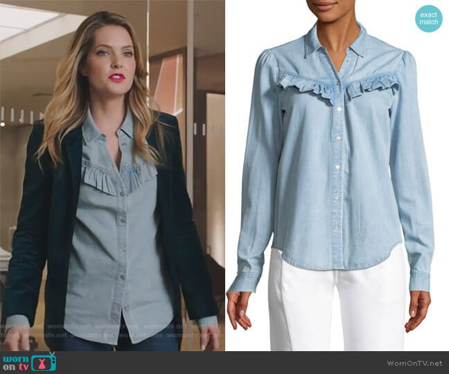 Layda Snap-Front Chambray Shirt w/ Ruffled Trim by Paige worn by Meghann Fahy on The Bold Type
