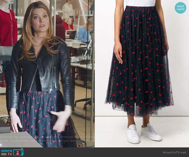 Lip Embroidered Tulle Skirt by PAROSH worn by Sutton (Meghann Fahy) on The Bold Type