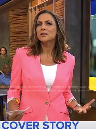 Paula's pink collarless blazer on Good Morning America