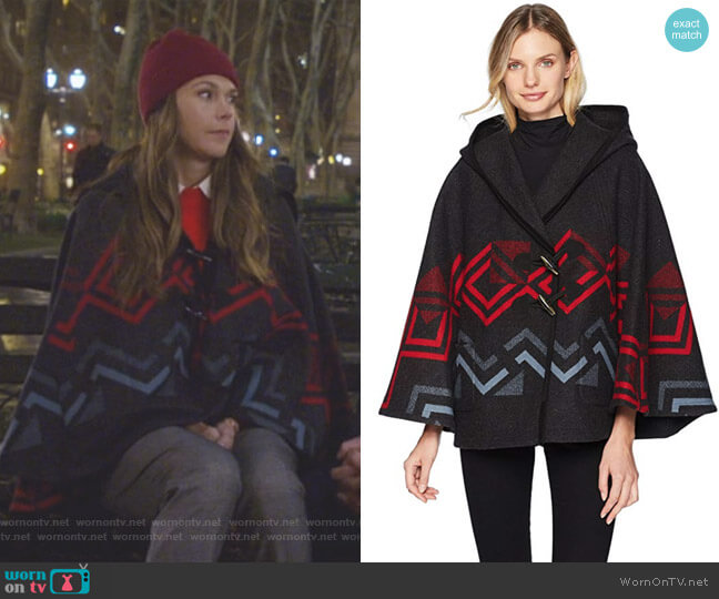 Wool Hooded Shawl Collar Cape by Pendleton worn by Sutton Foster on Younger