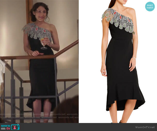 One-shoulder crocheted lace-paneled stretch-cady dress by Peter Pilotto worn by Abby McCarthy (Lisa Edelstein) on GG2D