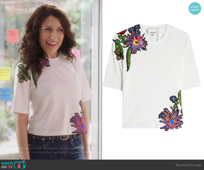 Embroidered Cotton T-Shirt by Phillip Lim 3.1 worn by Abby McCarthy (Lisa Edelstein) on GG2D