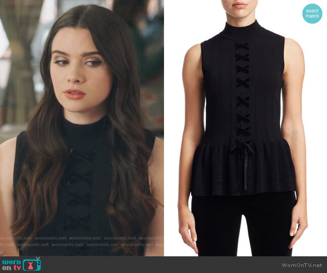 Sleeveless Lace-Up Peplum Sweater by Scripted worn by Jane Sloan (Katie Stevens) on The Bold Type