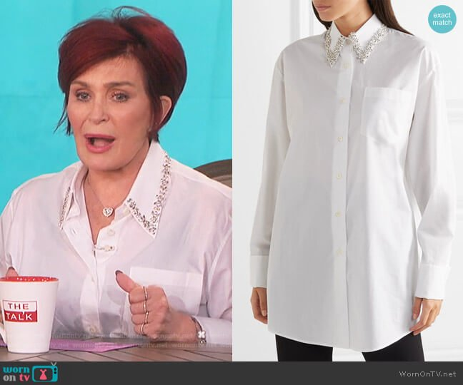Oversized crystal-embellished cotton-poplin shirt by Prada worn by Sharon Osbourne on The Talk