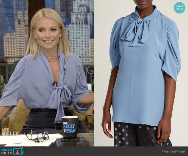 Pussybow Silk Blouse by Prada worn by Kelly Ripa  on Live with Kelly & Ryan