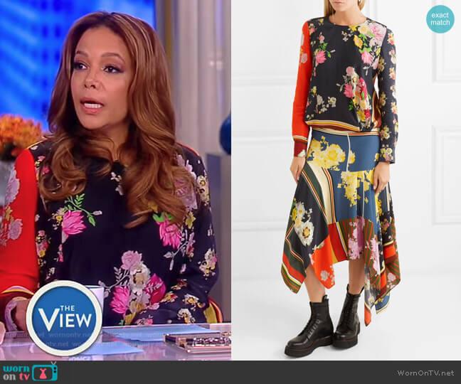 Kara asymmetric printed crepe de chine midi dress by Preen Line worn by Sunny Hostin  on The View