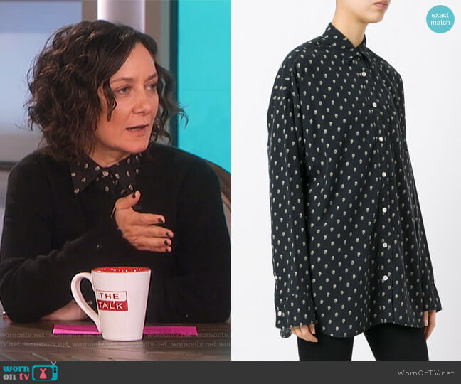 Allover Skull Print Shirt by R13 worn by Sara Gilbert on The Talk