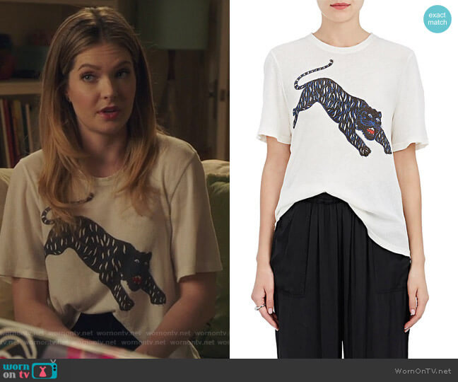 Tiger-Print Cotton T-Shirt by Raquel Allegra worn by Sutton (Meghann Fahy) on The Bold Type