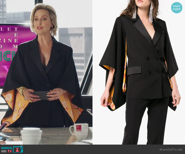 Kyoto contrast lining virgin wool kimono jacket by Racil worn by Jacqueline (Melora Hardin) on The Bold Type