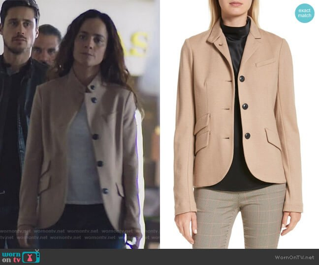 Slade Wool Blazer by Rag & Bone worn by Alice Braga on Queen of the South