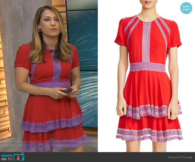 Raglia Tiered Lace-Inset Dress by Maje worn by Ginger Zee (Ginger Zee) on Good Morning America