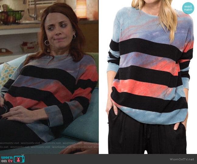 Tie Dye Crop Sleeve Boxy Crew by Raquel Allegra worn by Alanna Ubach on GG2D