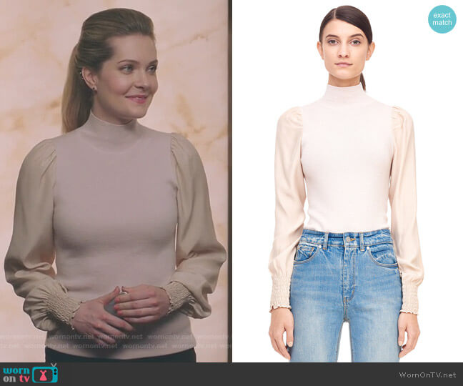 Merino & Charmeuse Turtleneck Pullover by Rebecca Taylor  worn by Meghann Fahy on The Bold Type