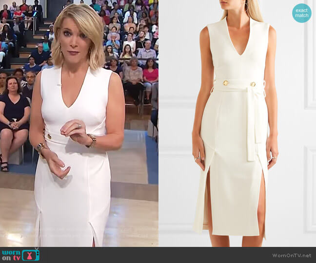 Beltrán belted cutout crepe midi dress by Rebecca Vallance worn by Megyn Kelly  on Today