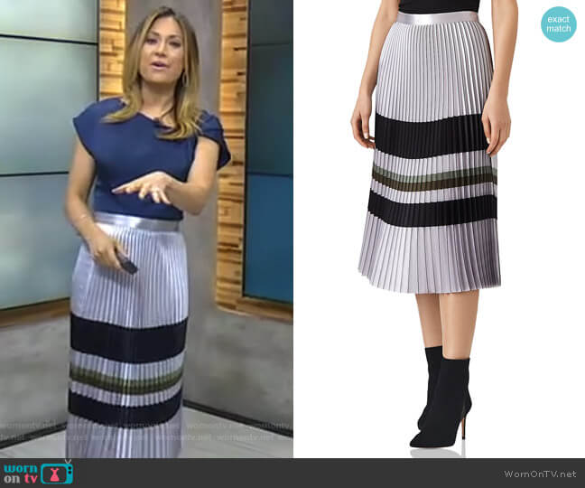 Sophia Metallic Pleated Midi Skirt by Reiss worn by Ginger Zee (Ginger Zee) on Good Morning America