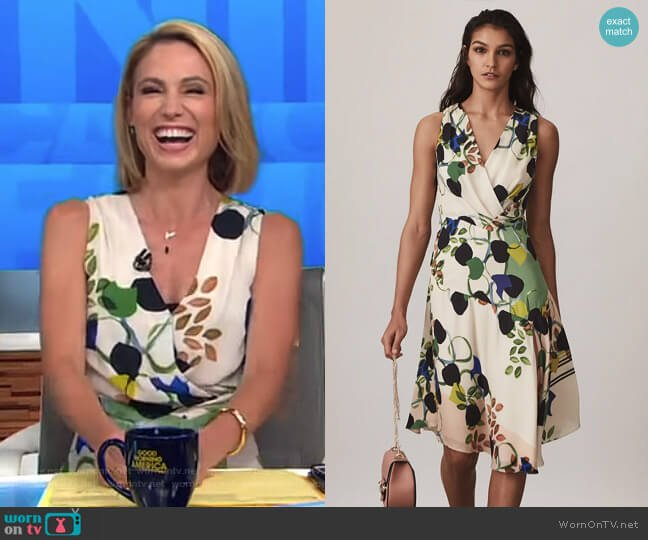 Magnolia Floral Printed Dress by Reiss worn by Amy Robach on Good Morning America