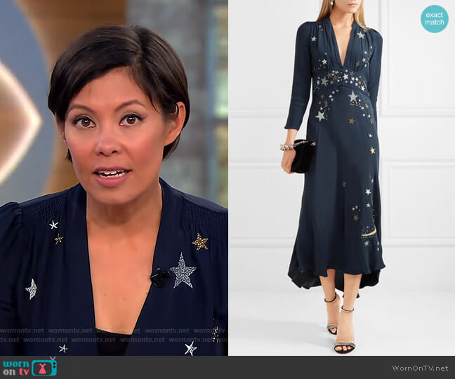Margo Embellished Embroidered Midi Dress by Rixo London worn by Alex Wagner on CBS This Morning