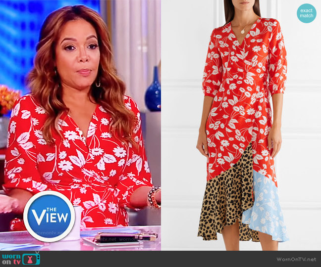 Noleen paneled printed silk-crepe wrap dress by Rixo London worn by Sunny Hostin on The View