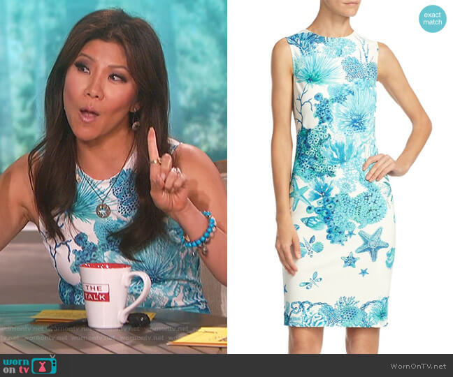 Coral Reef Dress by Roberto Cavalli worn by Julie Chen  on The Talk