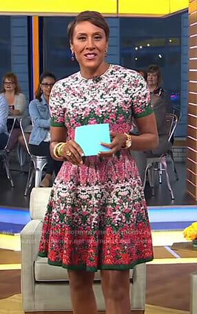 Robin's floral short sleeve dress on Good Morning America