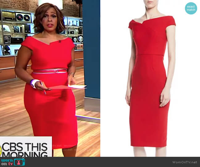 Off-the-Shoulder Cap-Sleeve Crepe Sheath Dress by Roland Mouret worn by Gayle King on CBS This Morning