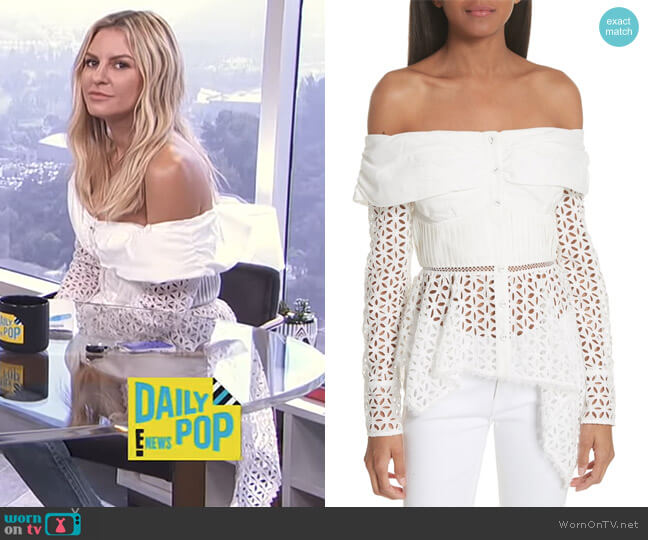 Broderie Anglaise Off the Shoulder Top by Self Portrait worn by Morgan Stewart on E! News