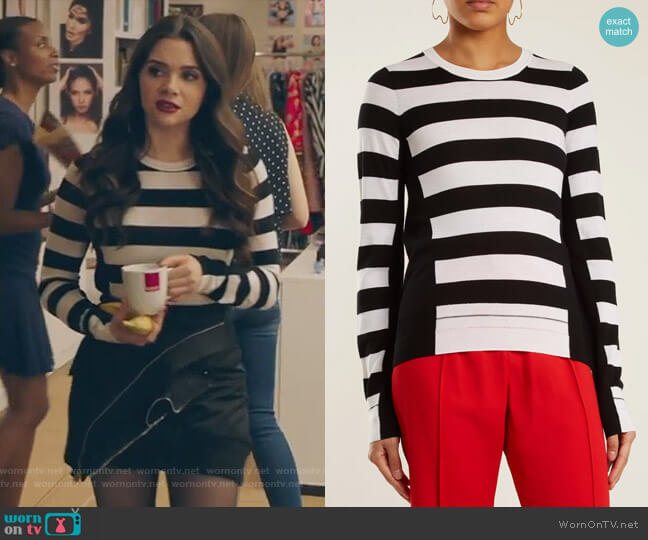 Wide-striped wool-knit sweater by Sonia Rykiel worn by Jane Sloan (Katie Stevens) on The Bold Type