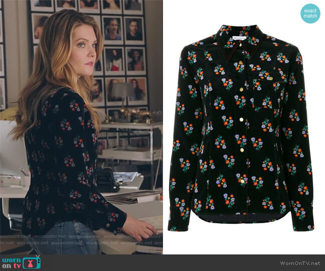 Velvet Floral Print Shirt by Sonia Rykiel worn by Sutton (Meghann Fahy) on The Bold Type