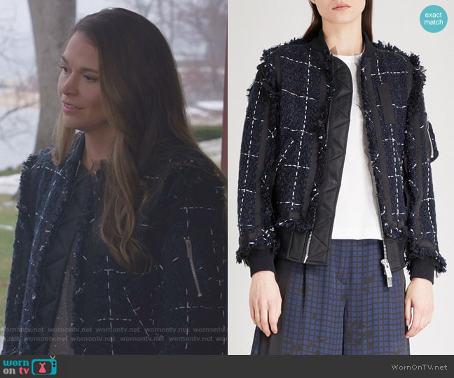 Tweed bomber jacket by Sacai worn by Liza Miller (Sutton Foster) on Younger