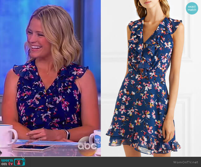 Cece ruffled floral-print silk-chiffon mini dress by Saloni worn by Sara Haines  on The View