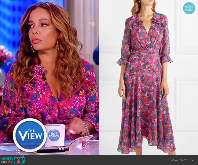 Edith ruffled floral-print silk-chiffon midi dress by Saloni worn by Sunny Hostin  on The View
