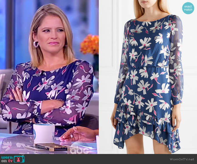 Felicia ruffled fil coupé silk-blend chiffon mini dress by Saloni worn by Sara Haines  on The View