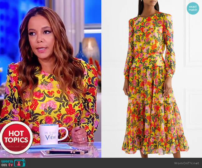 Isabel floral-print silk-chiffon midi dress by Saloni worn by Sunny Hostin  on The View