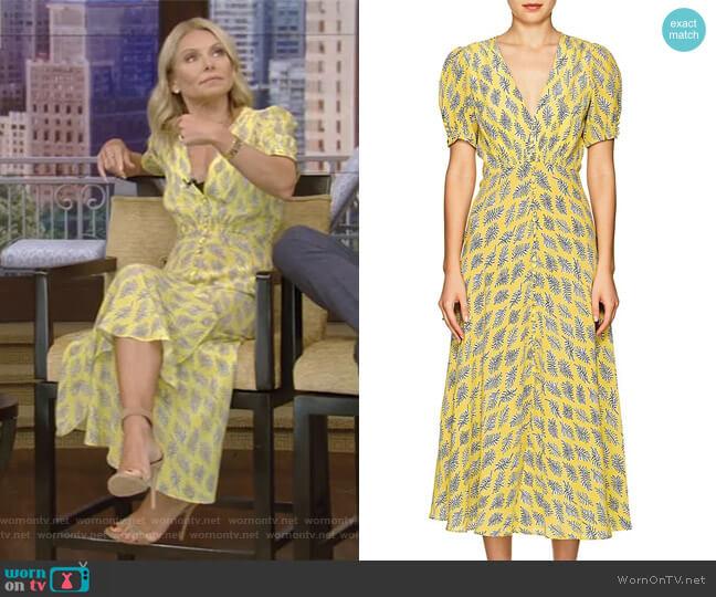 Lea Algae-Print Silk Midi-Dress by Saloni worn by Kelly Ripa (Kelly Ripa) on Live with Kelly & Ryan