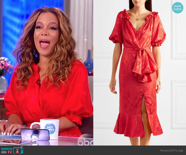 Olivia wrap-effect silk-satin jacquard midi dress by Saloni worn by Sunny Hostin  on The View