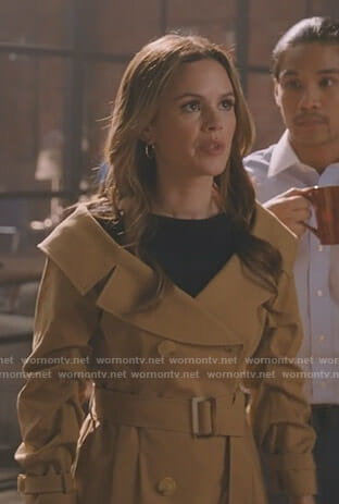 Sam's off shoulder trench coat on Take Two