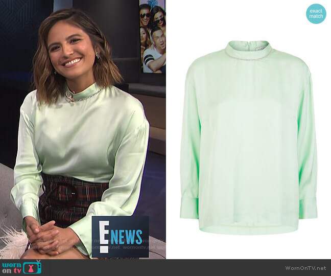 Embellished Satin Blouse by Sandro worn by Erin Lim  on E! News