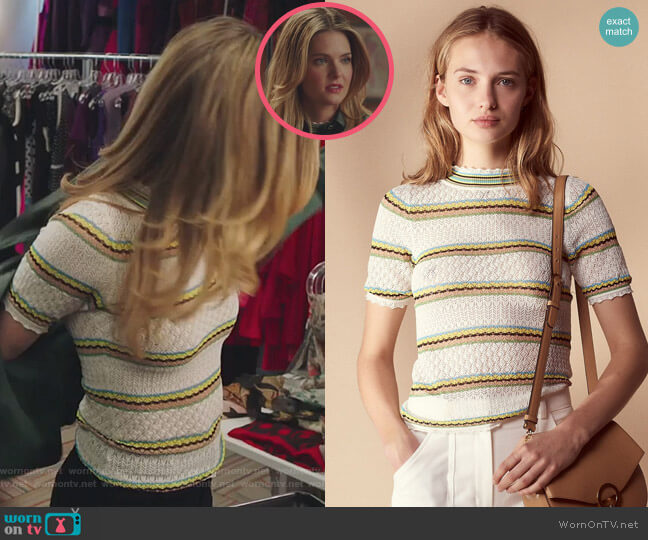 Fancy Knit Cotton Blend Sweater by Sandro worn by Sutton (Meghann Fahy) on The Bold Type