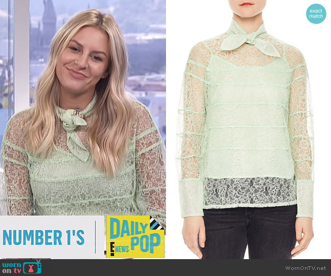 Izzie Sheer Lace Tie-Neck Top by Sandro worn by Morgan Stewart  on E! News