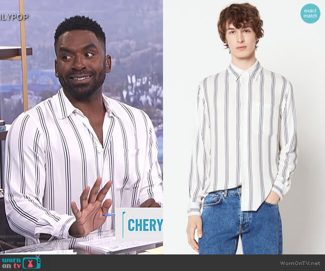 Long Sleeved Striped Shirt by Sandro worn by Justin Sylvester on E! News