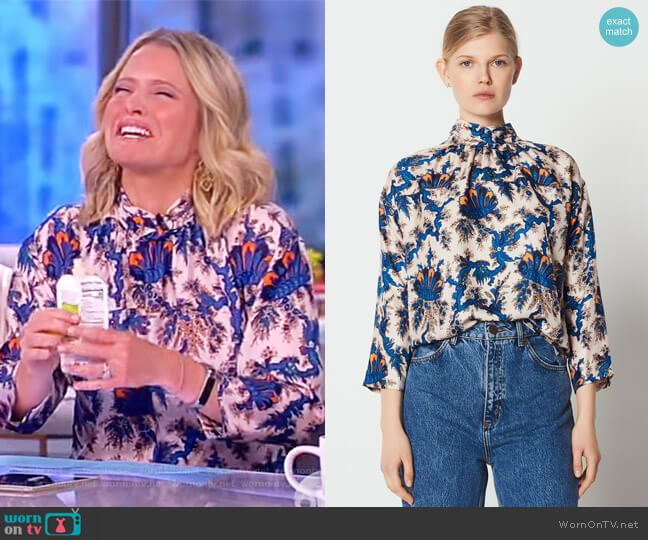 High-neck printed silk blouse by Sandro worn by Sara Haines  on The View