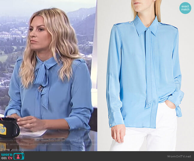 Neck-Tie Silk-Crepe Shirt by Sandro worn by Morgan Stewart  on E! News